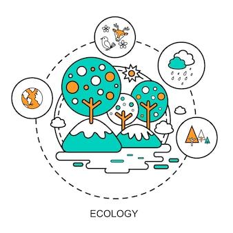 Ecologieconcept: prachtige omgeving in platte lijnstijl