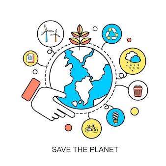Ecologieconcept: red de planeet in platte lijnstijl
