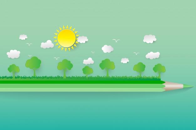Ecologiedocument kunstconcept op vriendschappelijke potloodeco en red de aarde met gras.