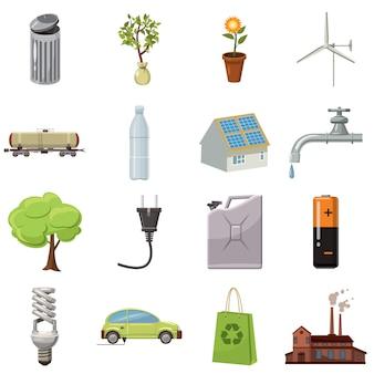Ecologiepictogrammen in beeldverhaalstijl worden op witte achtergrond wordt geïsoleerd geplaatst die