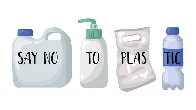 Ecologisch concept - pastic fles, zak en het van letters voorzien