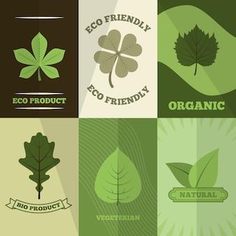 Ecologisch ecoproduct, milieuvriendelijke organische biovegetarische natuurlijke illustraties klaar om te drukken