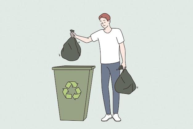Ecologisch en recyclingconcept opslaan