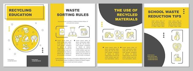 Ecologisch onderwijs brochure sjabloon. milieuproblemen. flyer, boekje, folder afdrukken, omslagontwerp met lineaire pictogrammen. vectorlay-outs voor presentatie, jaarverslagen, advertentiepagina's