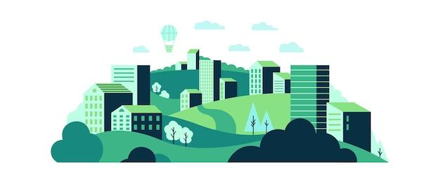 Ecologisch stadslandschap met groene wilde natuur en stadshuizen.