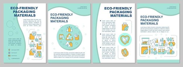 Ecologisch vriendelijke verpakking brochure sjabloon. flyer, boekje, folder afdrukken, omslagontwerp met lineaire pictogrammen. vectorlay-outs voor presentatie, jaarverslagen, advertentiepagina's