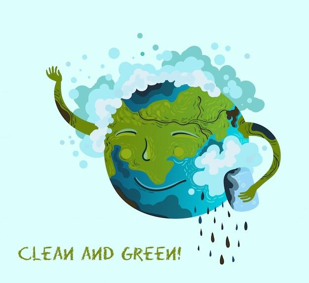 Ecologische conceptuele illustratie van de planeet aarde die zichzelf opruimt.