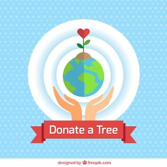 Ecologische donatie achtergrond in plat design