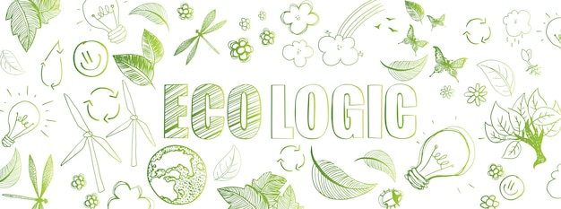 Ecologische doodles banner