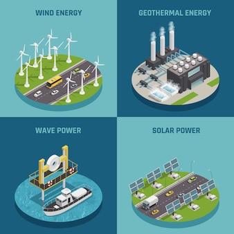Ecologische hernieuwbare groene energiebronnen 4 isometrische pictogrammen vierkante poster met wind zonne-energie en geïsoleerd