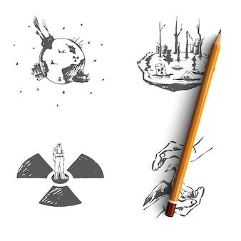Ecologische problemen besparen van zeldzame soorten illustratie