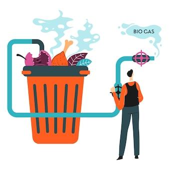 Ecologische problemen en het oplossen van vervuilingsgraad, geïsoleerde vuilnisbak met recycling van groenten tot biogas. fermentatie en duurzaamheid, oplossingen voor milieuzorg, vector in vlakke stijl