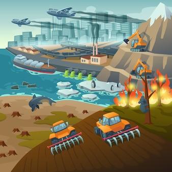 Ecologische problemen zoals water- en luchtverontreiniging, bosbranden en opwarming van de aarde