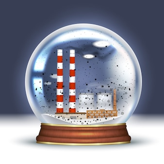 Ecologische ramp, sneeuwbol met rokende plant, industriële leidingen binnenin en zwarte sneeuw. slechte ecologie, ecologische souvenirs. realistische vectorillustratie.