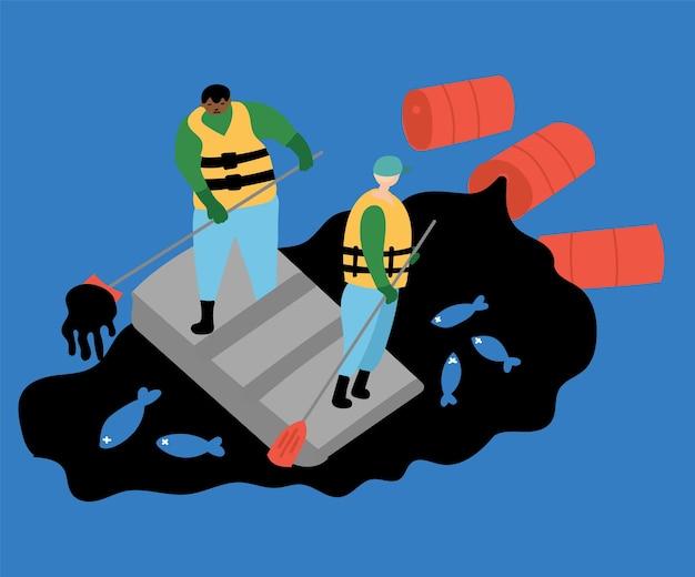 Ecologische rampen. olievervuiling van de oceaan, dode vissen, vissers maken de zee schoon