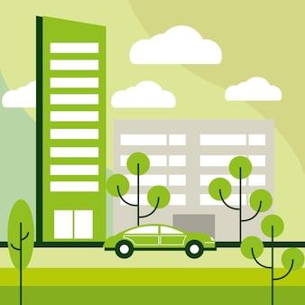 Ecologische stad en voertuig