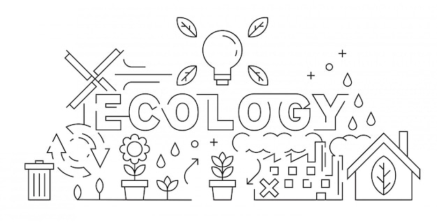 Ecology theme of thin line design