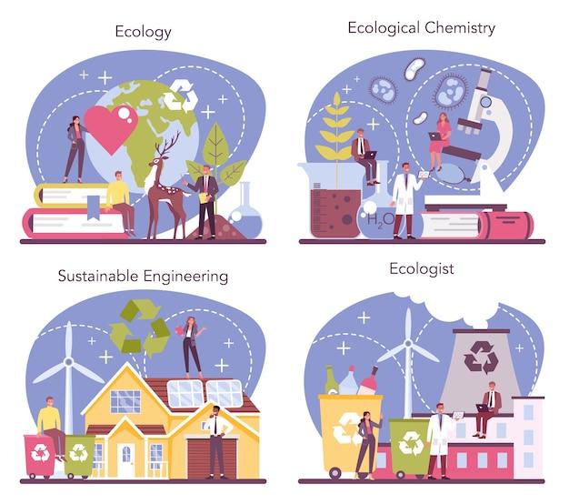 Ecoloog ingesteld. wetenschapper die voor de natuur zorgt en de ecologische omgeving bestudeert. lucht-, bodem- en waterbescherming. professionele ecologische activist. vector illustratie