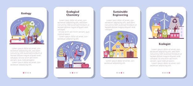 Ecoloog mobiele applicatie banner set. wetenschapper die voor de natuur zorgt en de ecologische omgeving bestudeert.