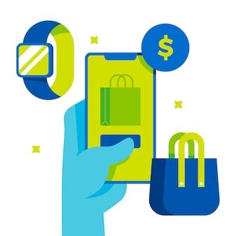 Ecommerce en online winkelen illustratie
