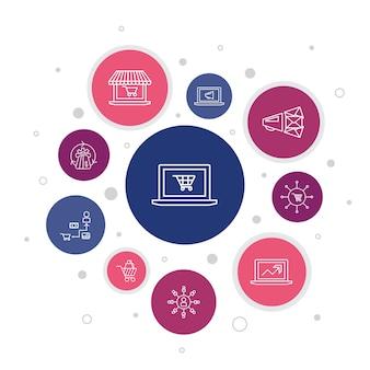 Ecommerce infographic 10 stappen bubble design.online winkel, winkelwagen, betalingsverwerker, ecommerce-oplossingen eenvoudige pictogrammen