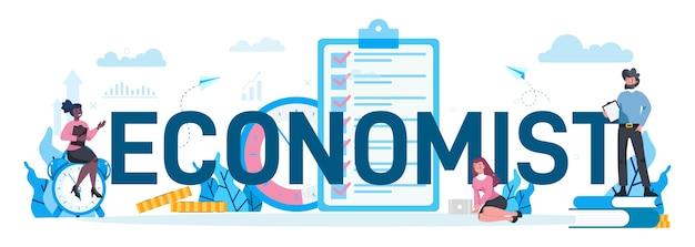 Economen typografisch concept. mensen uit het bedrijfsleven werken met geld. idee van investeringen en geld verdienen. zakelijk kapitaal.