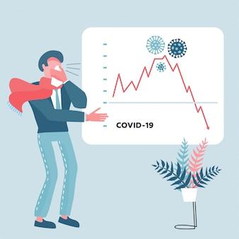 Economie daalt, financiële crisis en crash van aandelenkoers als gevolg van een uitbraak van het coronavirus. zakenman toont een presentatie met een dalende grafiek. cash loss-grafiek en grafiekpijl downfall. vlak