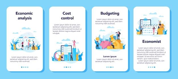 Economie en financiën concept mobiele applicatie banner set. mensen uit het bedrijfsleven werken met geld. idee van investeringen en geld verdienen. zakelijk kapitaal.