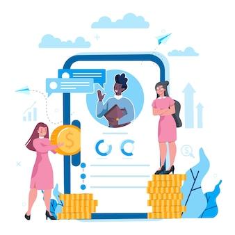 Economie en financiën online service op een smartphonescherm. investeringsoverleg en audit. kredietverlening aan bedrijven. vector illustratie set