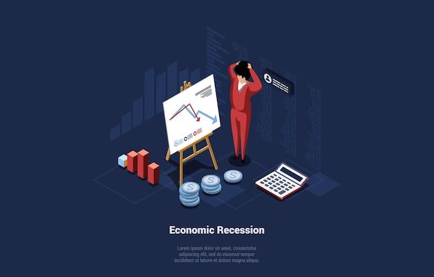 Economie recessie conceptuele illustratie met infographics. 3d cartoon samenstelling op donkere achtergrond. vector isometrische kunst met geschokt mannelijk karakter dat zich in de buurt van laag vallende financiële grafiek bevindt.