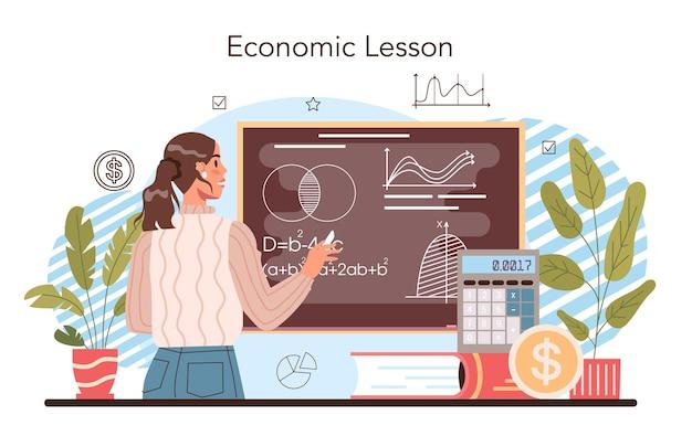 Economie school onderwerp concept. student studeert globale economie
