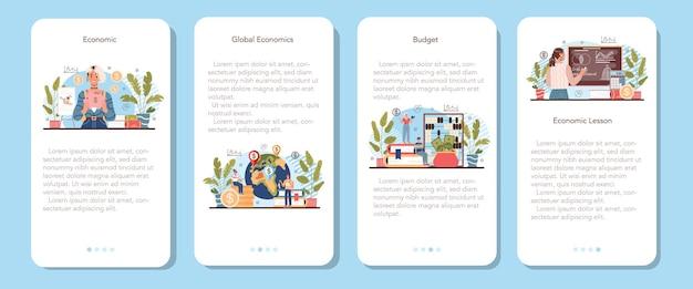 Economie school onderwerp mobiele applicatie banner set. student studeren