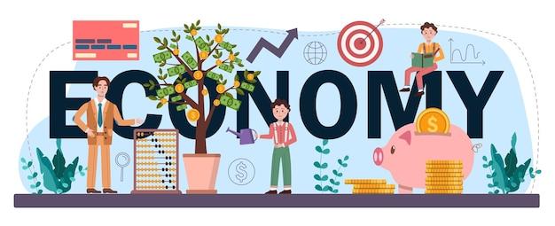 Economie typografische kop. schoolvak economie. student