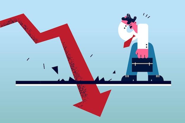 Economisch val schulden faillissement concept