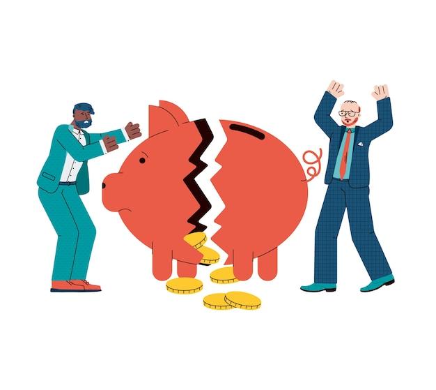 Economische crisis en financiële faillissementsillustratie