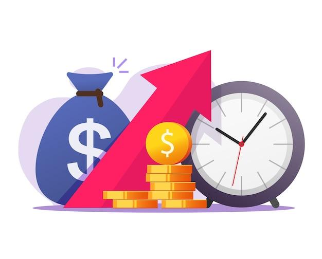 Economische deflatie geldgroei door tijd vector concept