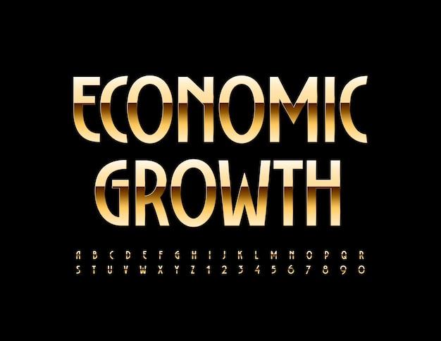 Economische groei met lettertype gouden alfabetletters en cijfers set