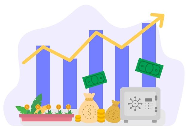 Economische groei vector illustratie concept