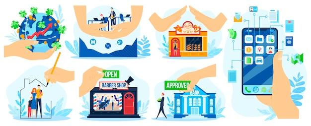 Economische herstelleningen, hypotheek zakelijke ondersteuning vector illustratie set. menselijke handen ter ondersteuning van het kopen van een huis of het openen van bedrijven
