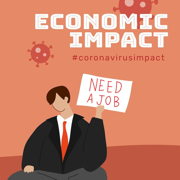 Economische impact tijdens coronavirus pandemie sjabloon