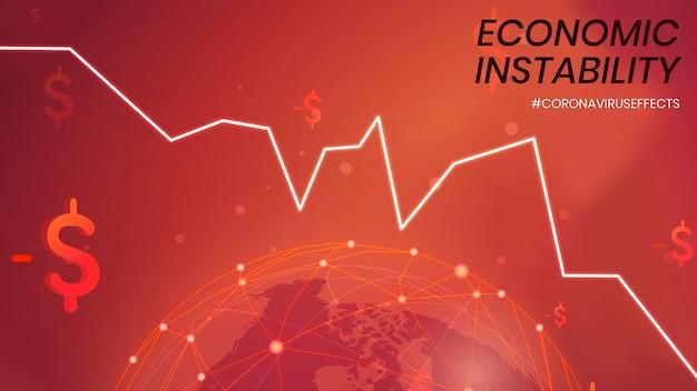 Economische instabiliteit als gevolg van covid-19 sociale sjabloonvector