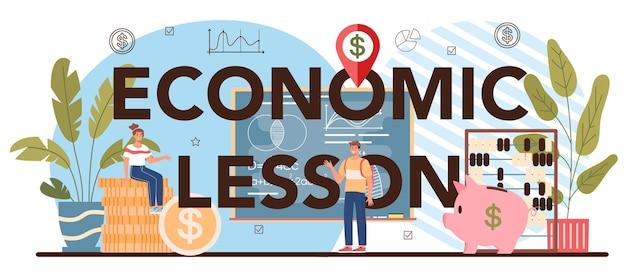 Economische les typografische kop. student studeert globale economie