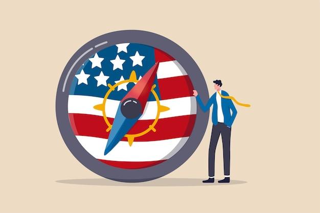 Economische richting van de wereld en de verenigde staten na de presidentsverkiezingen, richting van de amerikaanse federal reserve, fed in het concept van de financiële crisis, de tribune van de zakenmanleider met kompas met de nationale vlag van de vs.