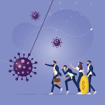 Economische stimulans om bedrijf te beschermen tegen faillissement zakenman beschermt een ander tegen sloopkogel coronavirus