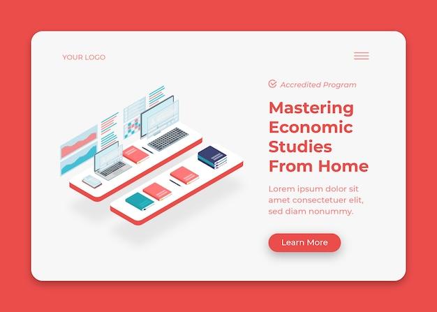 Economische studies isometrische illustratie met grafiek en computers