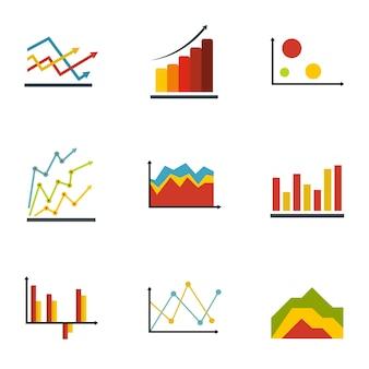 Economische tabel pictogrammen instellen. platte set van 9 economische tabel vector iconen