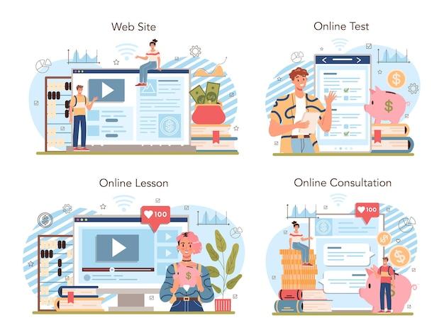 Economy schoolonderwerp online service of platformset. student studeren