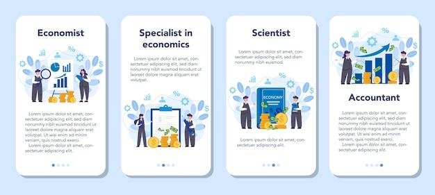 Econoom mobiele applicatie banner set. professionele wetenschapper die economie en geld bestudeert. idee van investeringen en geld verdienen. zakelijk kapitaal.