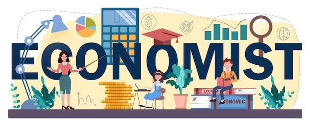 Econoom typografische kop. schoolvak economie. student die globale economie en geld studeert. idee van bedrijfskapitaal, investeringen en budget. vectorillustratie in cartoon-stijl