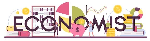 Econoom typografische koptekst. professionele wetenschapper die economie en geld bestudeert. idee van economische budgettering. zakelijk kapitaal.